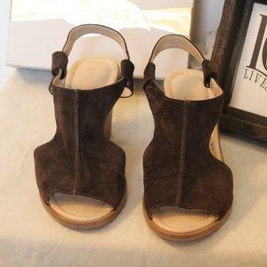 Shoes - Brown Suede Wedge Heel Sandals